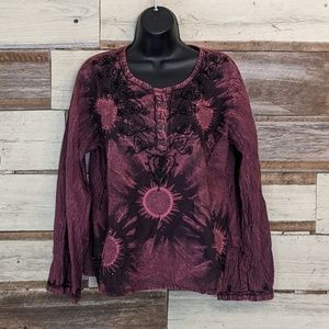 Raj Tops - Boho Beaded Tunic Festival Hippie Top sz M